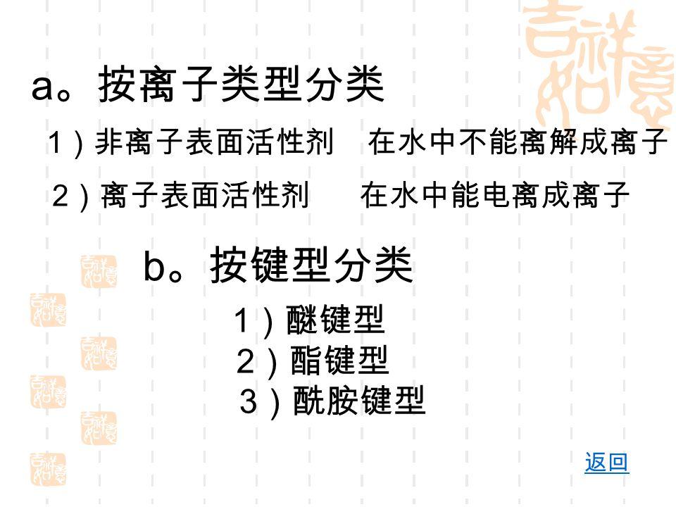 a 。按离子类型分类 1 )非离子表面活性剂 在水中不能离解成离子 2 )离子表面活性剂 在水中能电离成离子 b 。按键型分类 1 )醚键型 2 )酯键型 3 )酰胺键型 返回