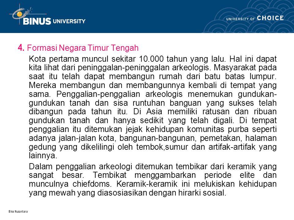 Bina Nusantara 4. Formasi Negara Timur Tengah Kota pertama muncul sekitar 10.000 tahun yang lalu.