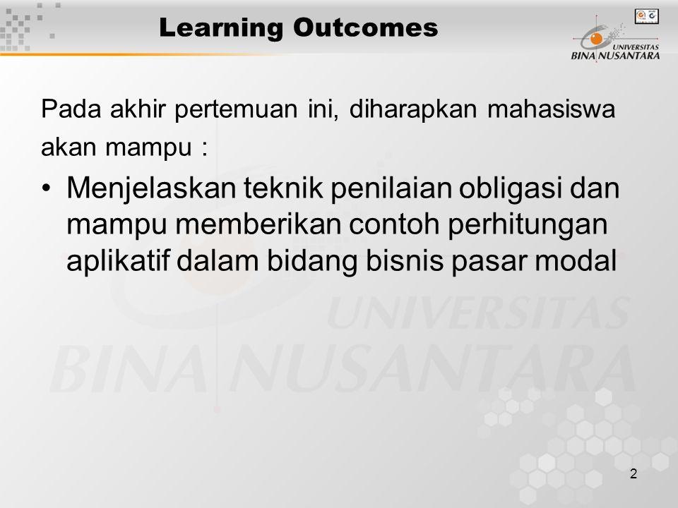 2 Learning Outcomes Pada akhir pertemuan ini, diharapkan mahasiswa akan mampu : Menjelaskan teknik penilaian obligasi dan mampu memberikan contoh perh