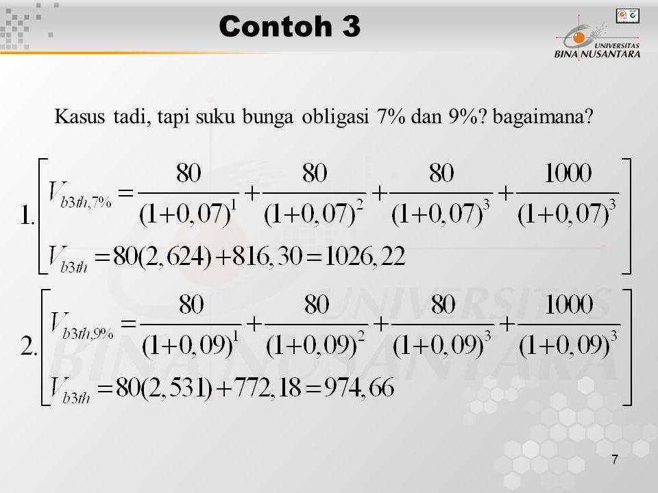 7 Contoh 3 Kasus tadi, tapi suku bunga obligasi 7% dan 9%? bagaimana?