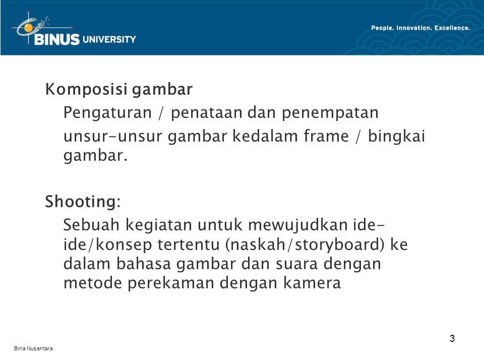 Bina Nusantara SHOT Pengambilan gambar dimulai dari recorder/vtr/tape roll hingga vtr/tape off Pada video camera tally light on (lampu merah on) hingga tally light off (lampu merah off)