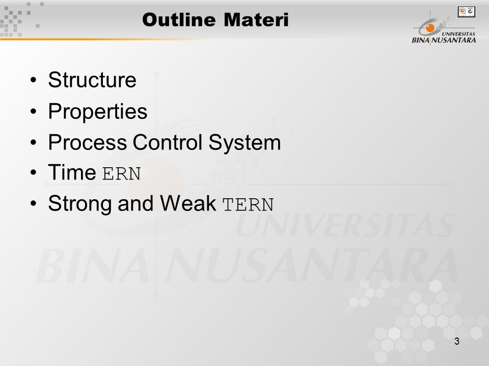3 Outline Materi Structure Properties Process Control System Time ERN Strong and Weak TERN