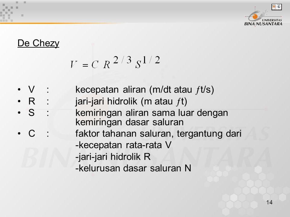 14 De Chezy V:kecepatan aliran (m/dt atau  t/s) R:jari-jari hidrolik (m atau  t) S:kemiringan aliran sama luar dengan kemiringan dasar saluran C:fak