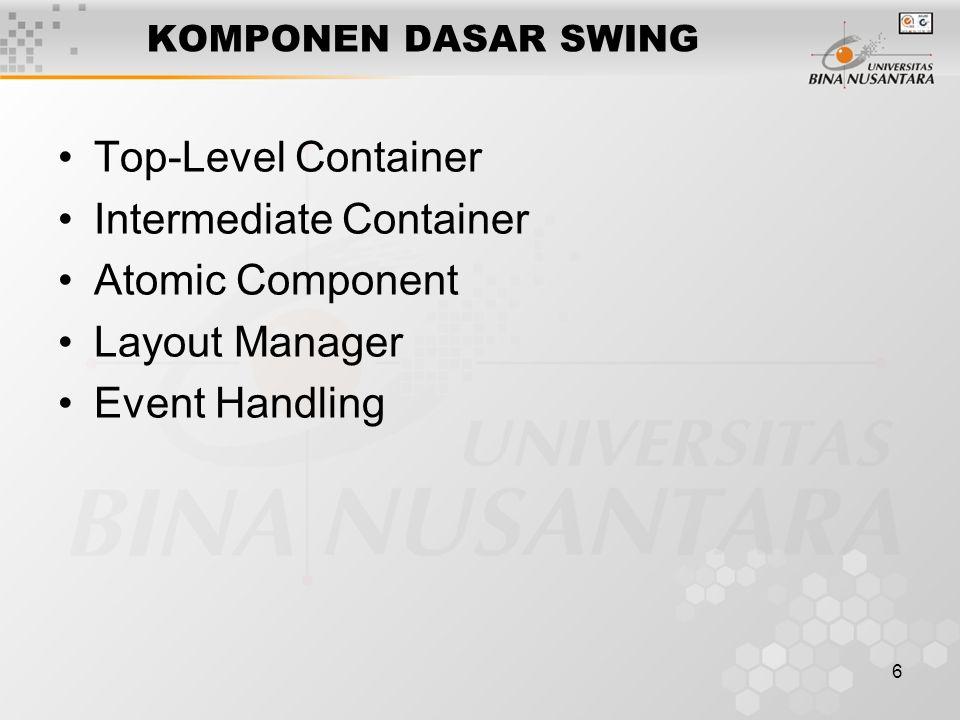7 KOMPONEN DASAR SWING Top-Level Container –Frame –Dialog –Applet yang diimplementasikan berupa class JFrame, JDialog dan JApplet.