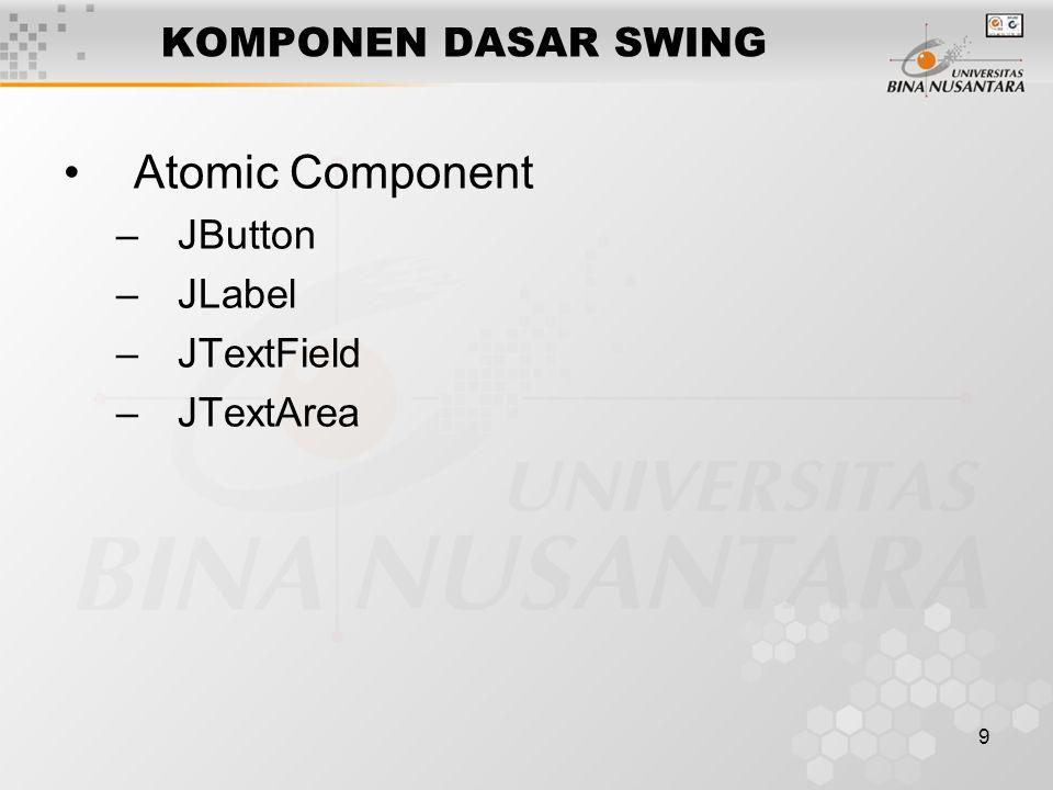 9 KOMPONEN DASAR SWING Atomic Component –JButton –JLabel –JTextField –JTextArea