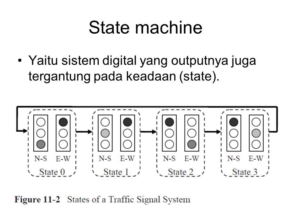 State machine Yaitu sistem digital yang outputnya juga tergantung pada keadaan (state).
