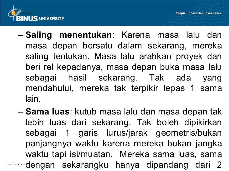 Bina Nusantara –Saling menentukan: Karena masa lalu dan masa depan bersatu dalam sekarang, mereka saling tentukan. Masa lalu arahkan proyek dan beri r
