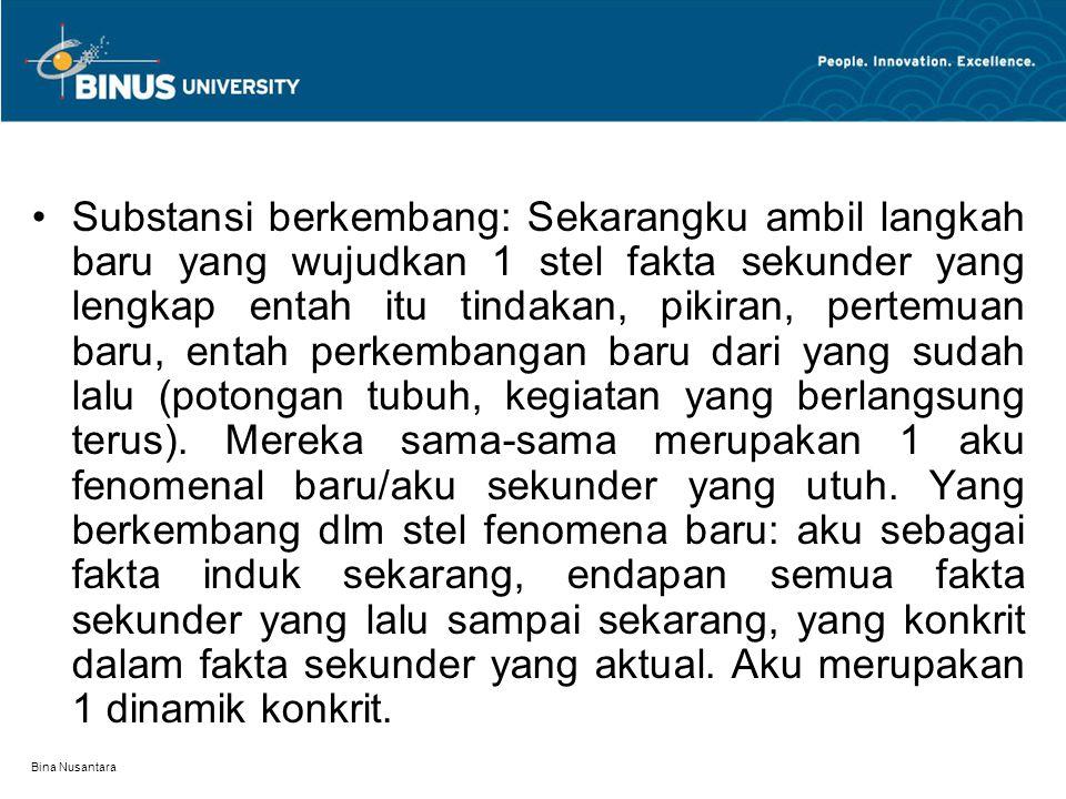Bina Nusantara Substansi berkembang: Sekarangku ambil langkah baru yang wujudkan 1 stel fakta sekunder yang lengkap entah itu tindakan, pikiran, perte