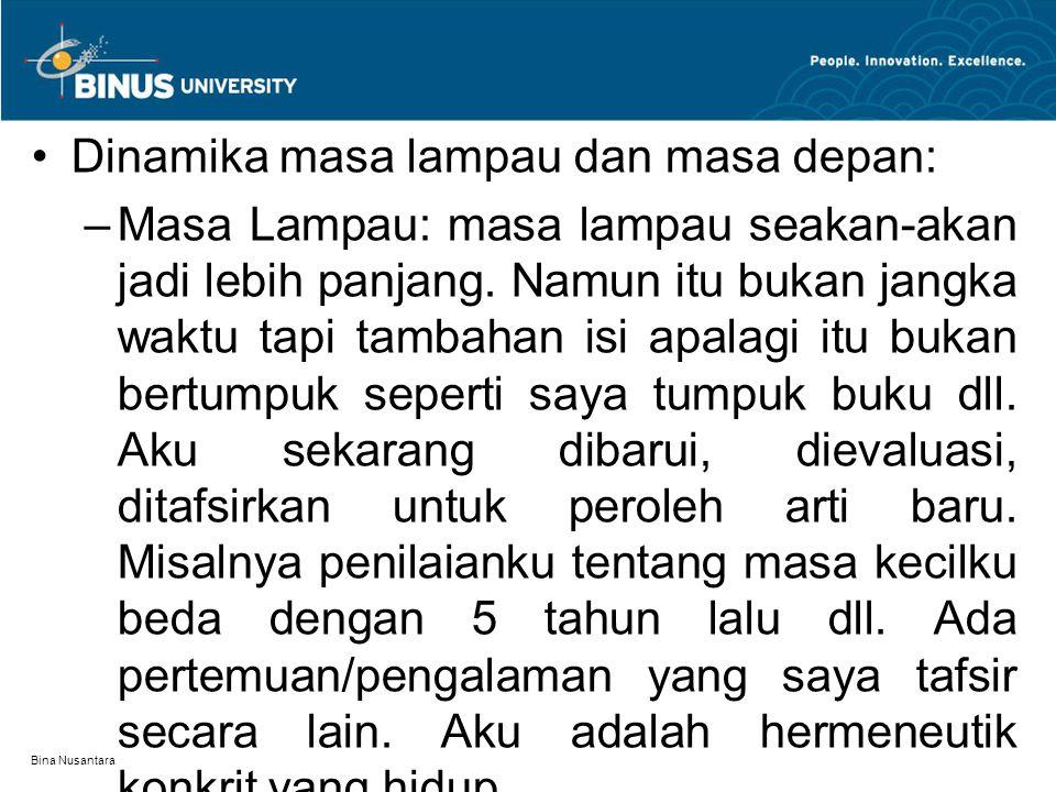 Bina Nusantara Dinamika masa lampau dan masa depan: –Masa Lampau: masa lampau seakan-akan jadi lebih panjang. Namun itu bukan jangka waktu tapi tambah