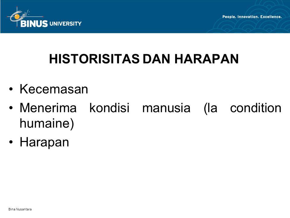 Bina Nusantara HISTORISITAS DAN HARAPAN Kecemasan Menerima kondisi manusia (la condition humaine) Harapan