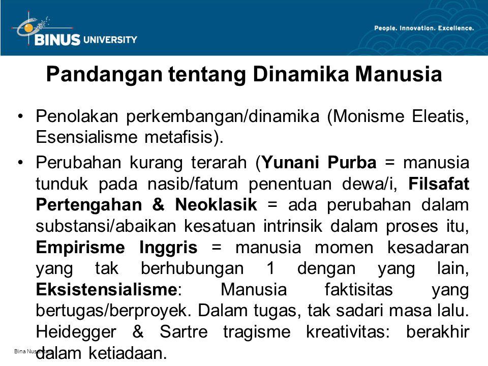 Bina Nusantara Pandangan tentang Dinamika Manusia Penolakan perkembangan/dinamika (Monisme Eleatis, Esensialisme metafisis). Perubahan kurang terarah