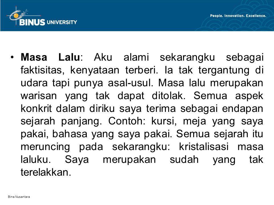 Bina Nusantara Masa Lalu: Aku alami sekarangku sebagai faktisitas, kenyataan terberi. Ia tak tergantung di udara tapi punya asal-usul. Masa lalu merup