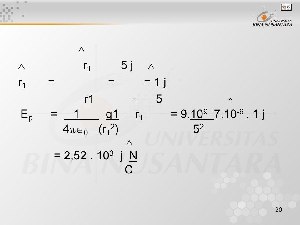 20   r 1 5 j  r 1 = = = 1 j r1 5   E p = 1 q1 r 1 = 9.10 9 7.10 -6. 1 j 4  0 (r 1 2 ) 5 2  = 2,52. 10 3 j N C