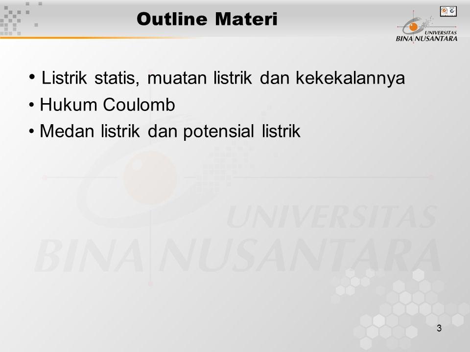 3 Outline Materi Listrik statis, muatan listrik dan kekekalannya Hukum Coulomb Medan listrik dan potensial listrik