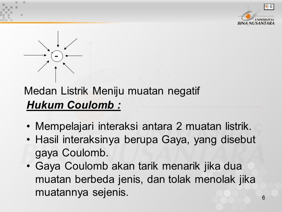 6 - - Medan Listrik Meniju muatan negatif Hukum Coulomb : Mempelajari interaksi antara 2 muatan listrik. Hasil interaksinya berupa Gaya, yang disebut