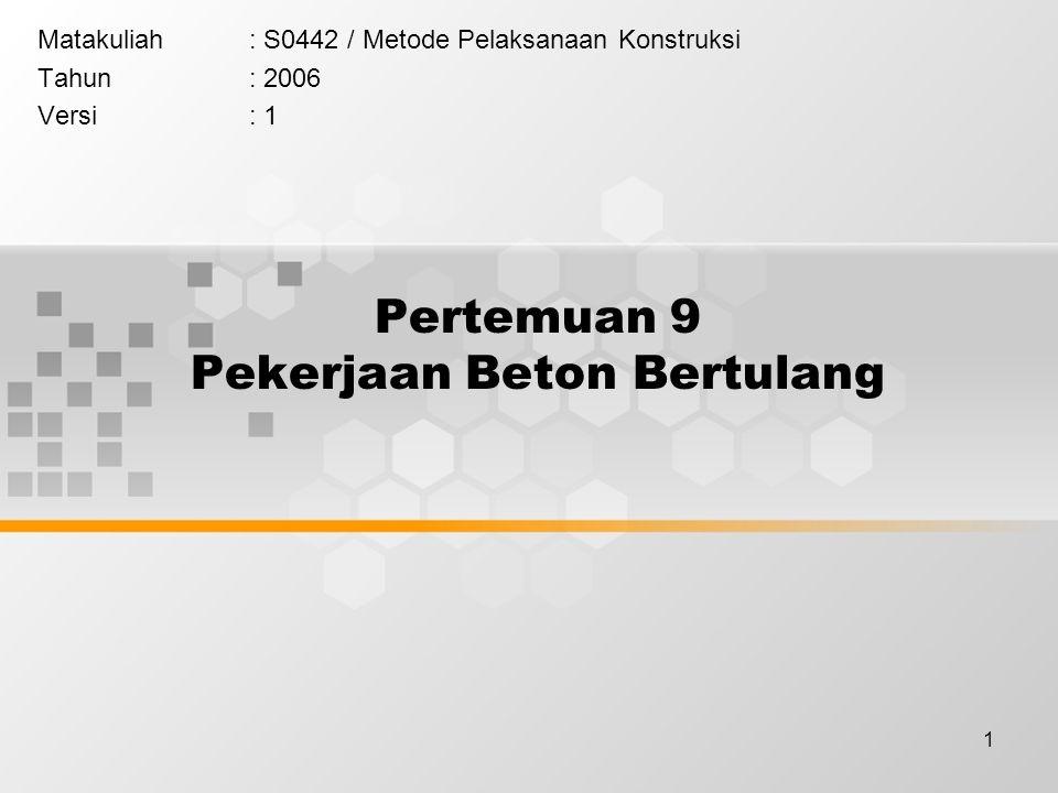 1 Pertemuan 9 Pekerjaan Beton Bertulang Matakuliah: S0442 / Metode Pelaksanaan Konstruksi Tahun: 2006 Versi: 1