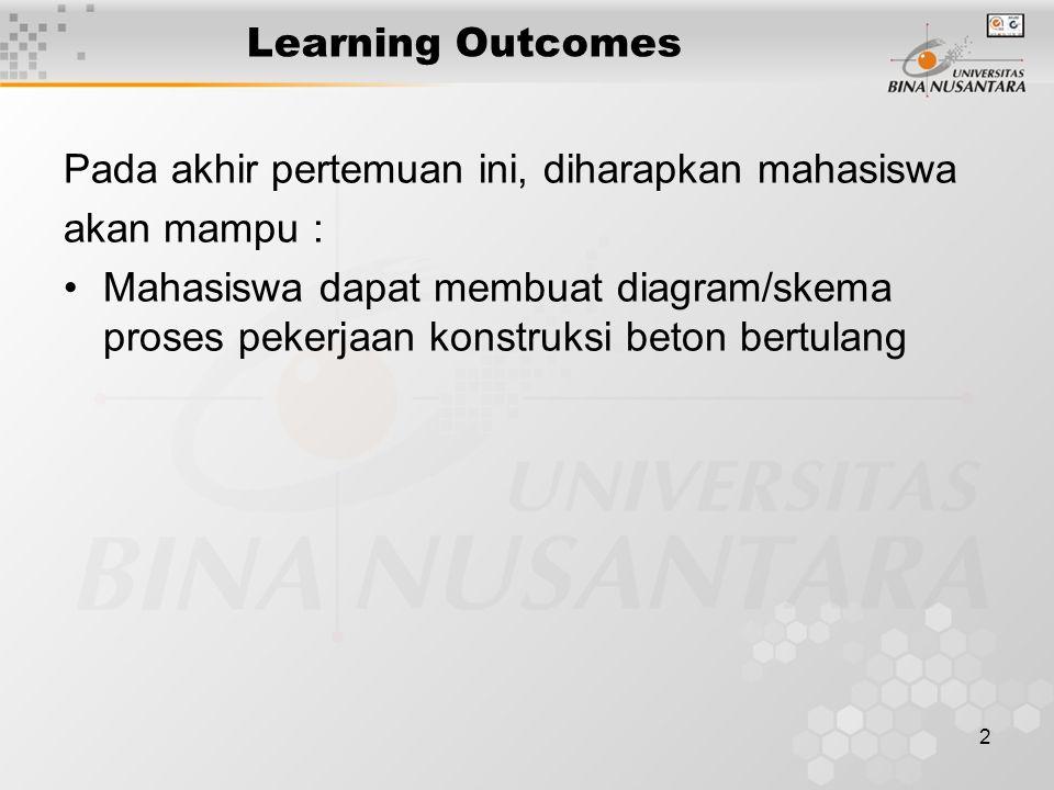 2 Learning Outcomes Pada akhir pertemuan ini, diharapkan mahasiswa akan mampu : Mahasiswa dapat membuat diagram/skema proses pekerjaan konstruksi beto