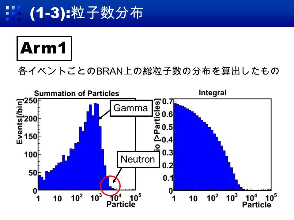 (1-3): 粒子数分布 Arm1 各イベントごとの BRAN 上の総粒子数の分布を算出したもの Neutron Gamma