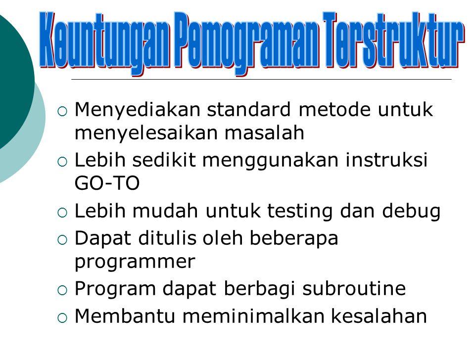  Menyediakan standard metode untuk menyelesaikan masalah  Lebih sedikit menggunakan instruksi GO-TO  Lebih mudah untuk testing dan debug  Dapat ditulis oleh beberapa programmer  Program dapat berbagi subroutine  Membantu meminimalkan kesalahan