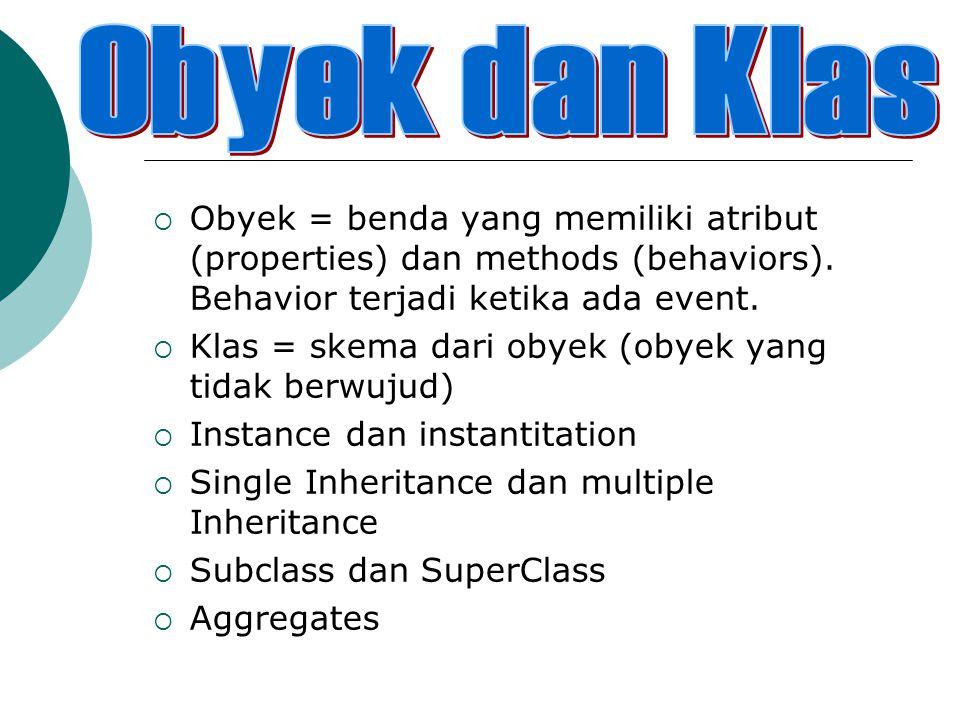  Obyek = benda yang memiliki atribut (properties) dan methods (behaviors). Behavior terjadi ketika ada event.  Klas = skema dari obyek (obyek yang t