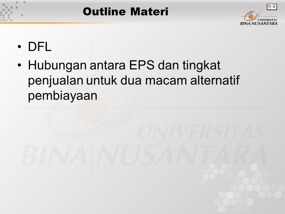 Outline Materi DFL Hubungan antara EPS dan tingkat penjualan untuk dua macam alternatif pembiayaan
