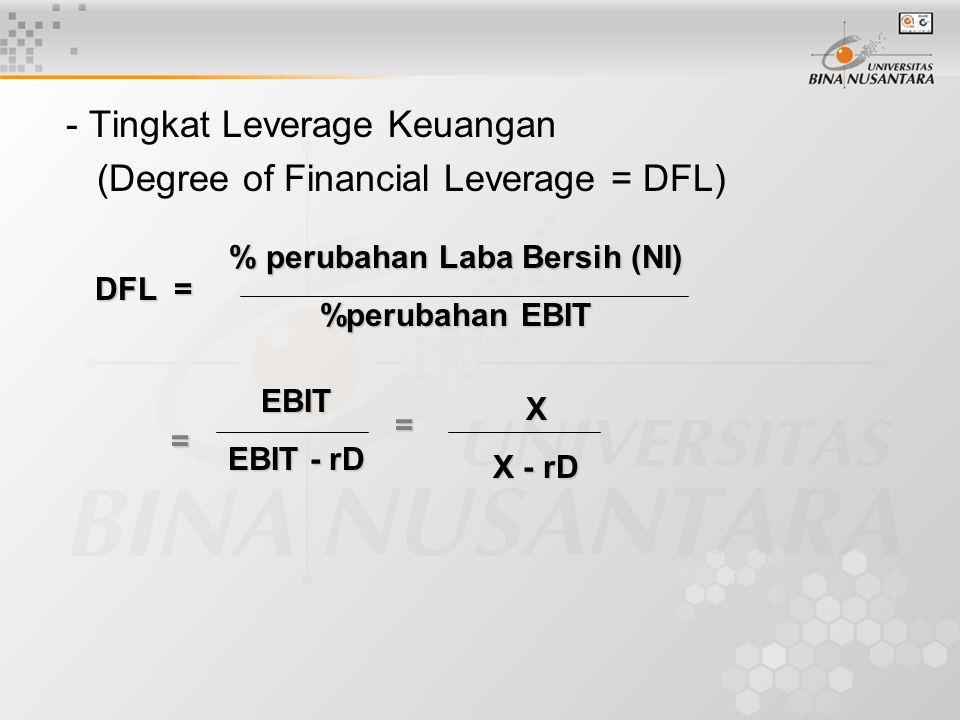 - Tingkat Leverage Keuangan (Degree of Financial Leverage = DFL) DFL = % perubahan Laba Bersih (NI) %perubahan EBIT EBIT EBIT - rD X X - rD = =
