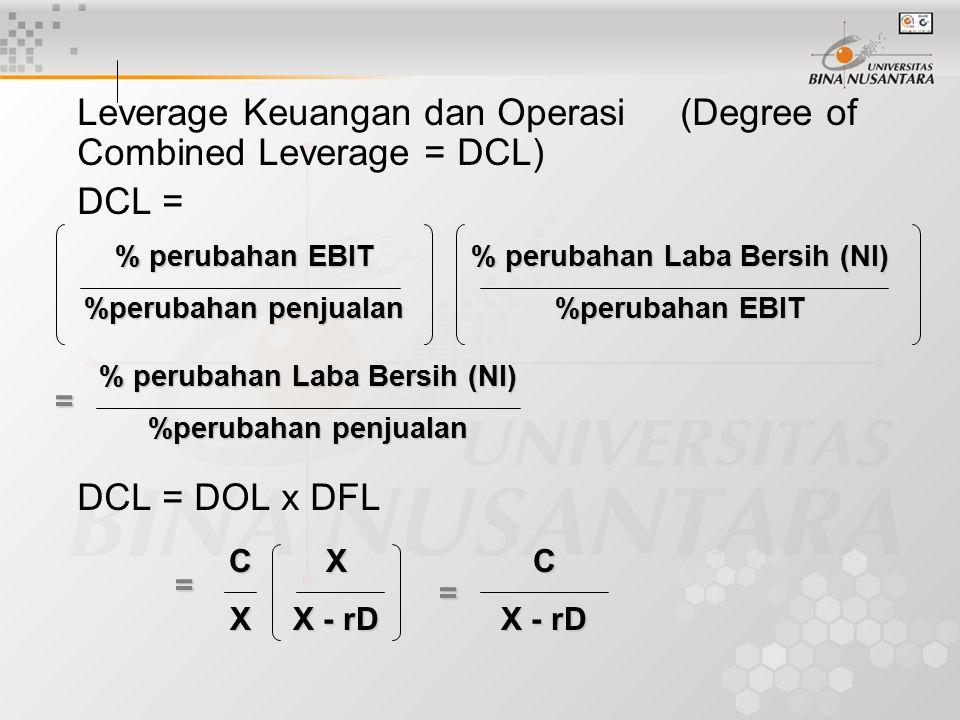 Leverage Keuangan dan Operasi (Degree of Combined Leverage = DCL) DCL = DCL = DOL x DFL % perubahan EBIT %perubahan penjualan CX % perubahan Laba Bersih (NI) %perubahan EBIT % perubahan Laba Bersih (NI) %perubahan penjualan = X X - rD = = C