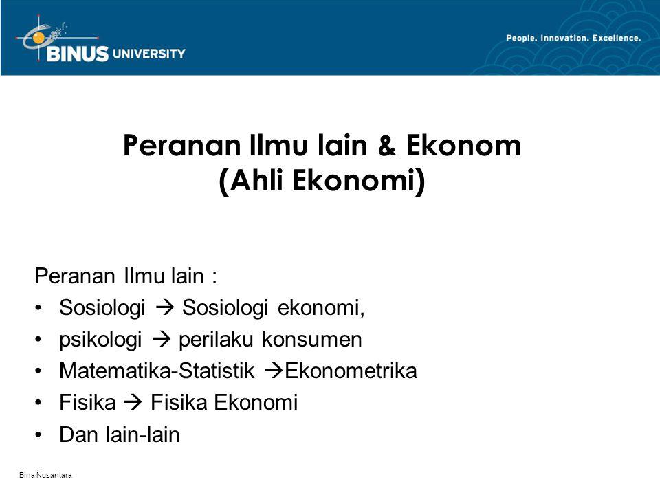 Bina Nusantara Jenis dan alat analisa dalam IE Jenis Analisa Ilmu Ekonomi 1.IE Deskriptif 2.IE Teori 3.Aplikasi IE Alat Analisis IE 1.Grafik – Kurva 2.Matematika – statistik  Ekonometrik 3.Fisika Ekonomi