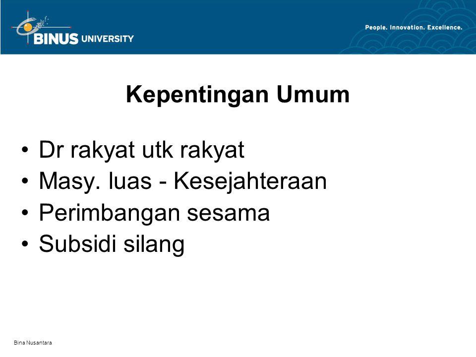 Bina Nusantara Kepentingan Umum Dr rakyat utk rakyat Masy. luas - Kesejahteraan Perimbangan sesama Subsidi silang