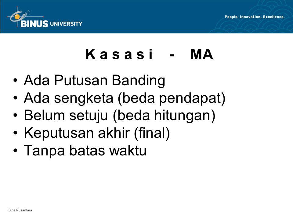 Bina Nusantara K a s a s i - MA Ada Putusan Banding Ada sengketa (beda pendapat) Belum setuju (beda hitungan) Keputusan akhir (final) Tanpa batas wakt