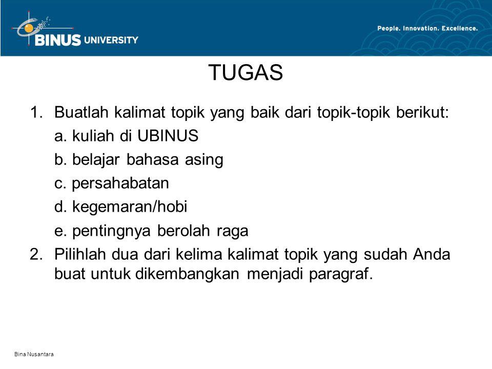 Bina Nusantara TUGAS 1.Buatlah kalimat topik yang baik dari topik-topik berikut: a.