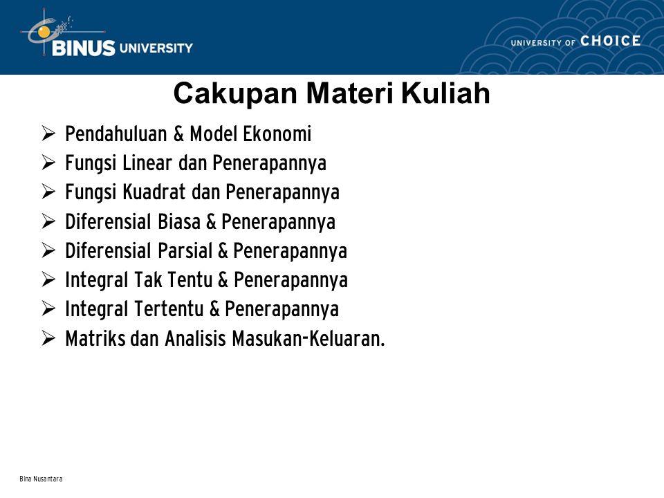 Bina Nusantara Cakupan Materi Kuliah  Pendahuluan & Model Ekonomi  Fungsi Linear dan Penerapannya  Fungsi Kuadrat dan Penerapannya  Diferensial Bi
