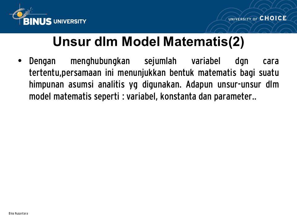 Bina Nusantara Unsur dlm Model Matematis(2) Dengan menghubungkan sejumlah variabel dgn cara tertentu,persamaan ini menunjukkan bentuk matematis bagi s