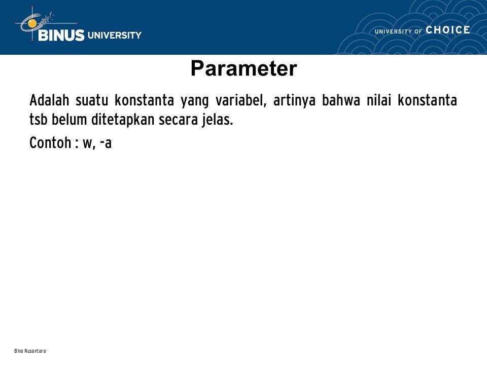 Bina Nusantara Parameter Adalah suatu konstanta yang variabel, artinya bahwa nilai konstanta tsb belum ditetapkan secara jelas. Contoh : w, -a