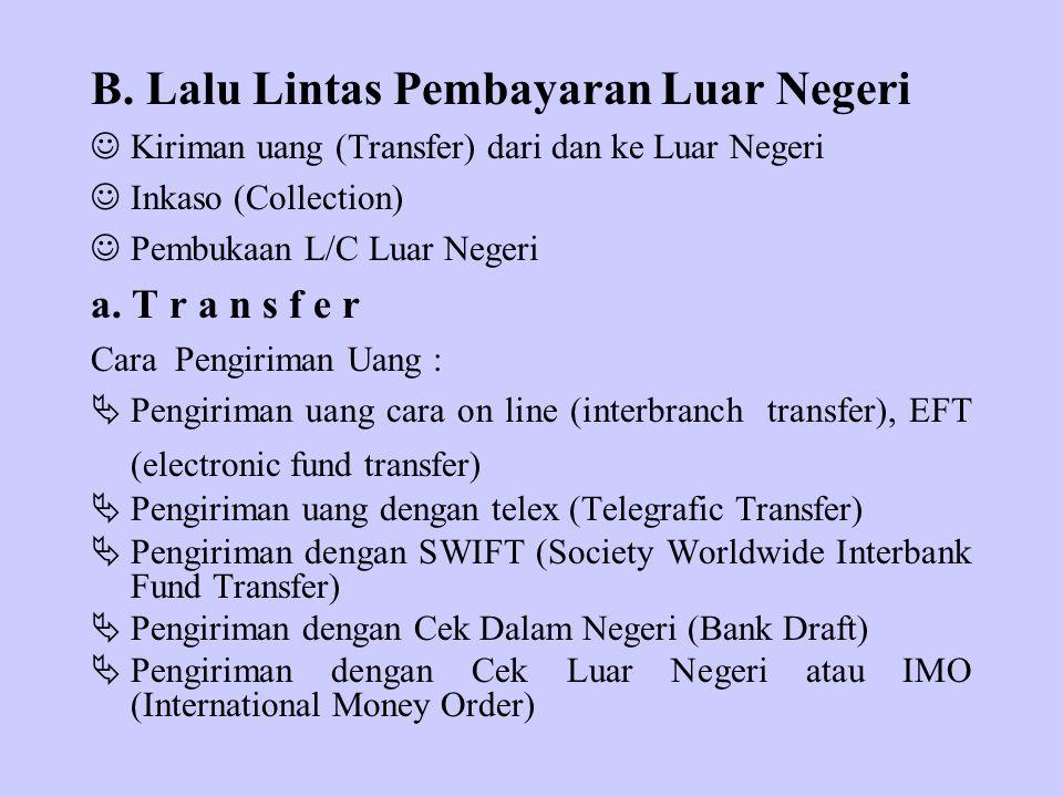 B. Lalu Lintas Pembayaran Luar Negeri Kiriman uang (Transfer) dari dan ke Luar Negeri Inkaso (Collection) Pembukaan L/C Luar Negeri a. T r a n s f e r