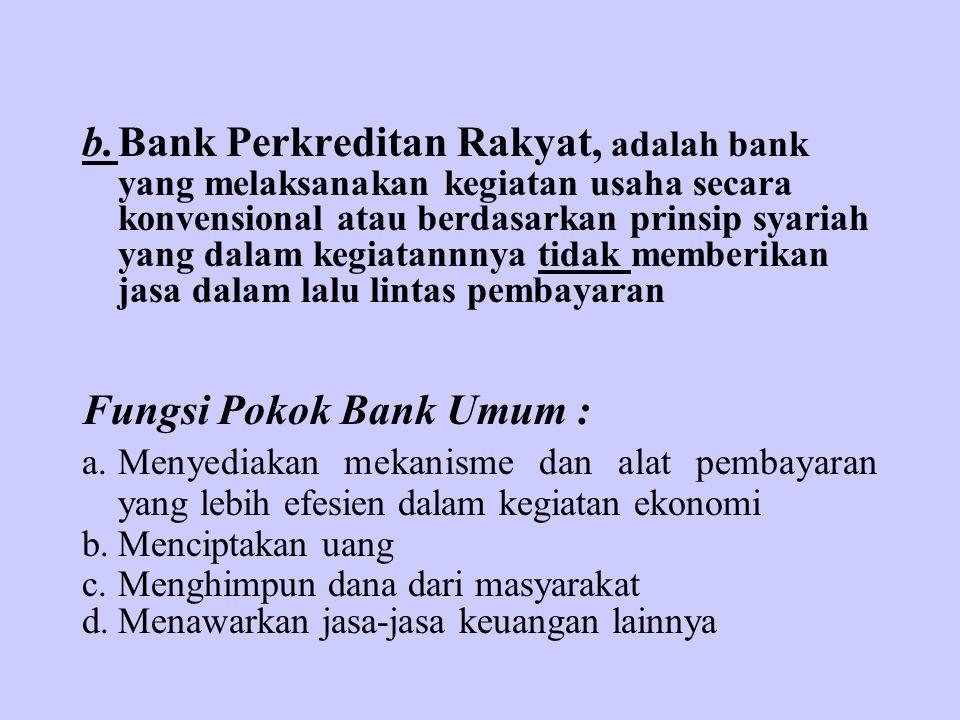 b.Bank Perkreditan Rakyat, adalah bank yang melaksanakan kegiatan usaha secara konvensional atau berdasarkan prinsip syariah yang dalam kegiatannnya t