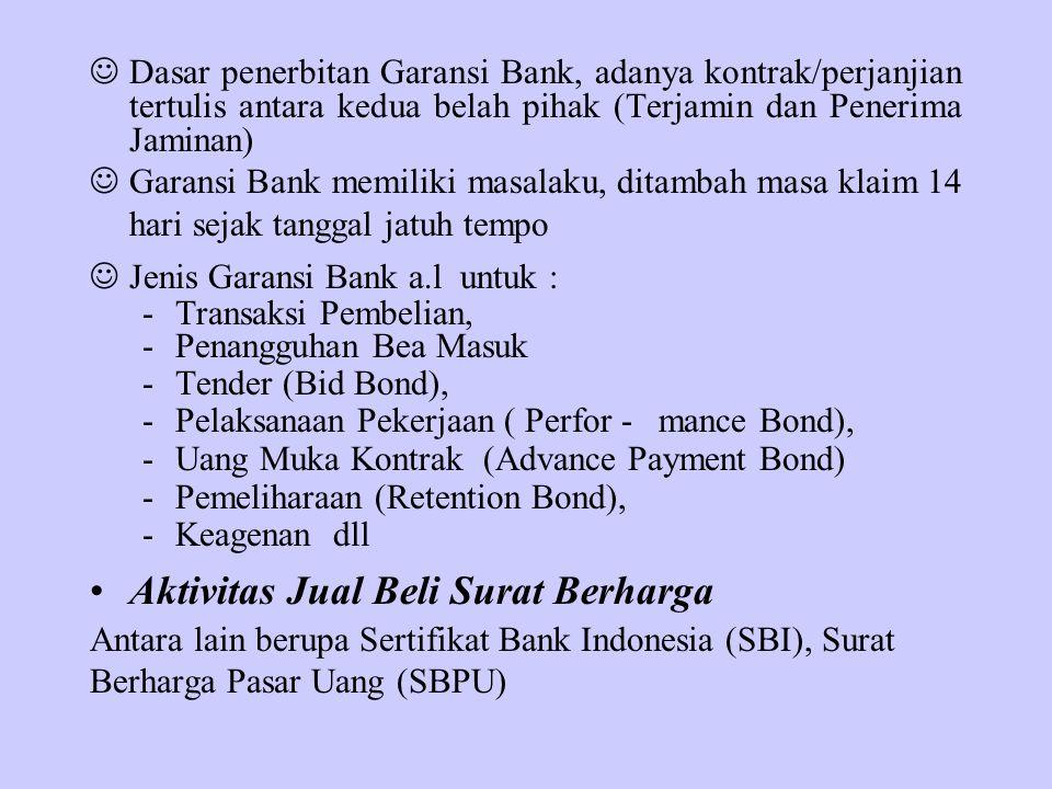 Dasar penerbitan Garansi Bank, adanya kontrak/perjanjian tertulis antara kedua belah pihak (Terjamin dan Penerima Jaminan) Garansi Bank memiliki masal