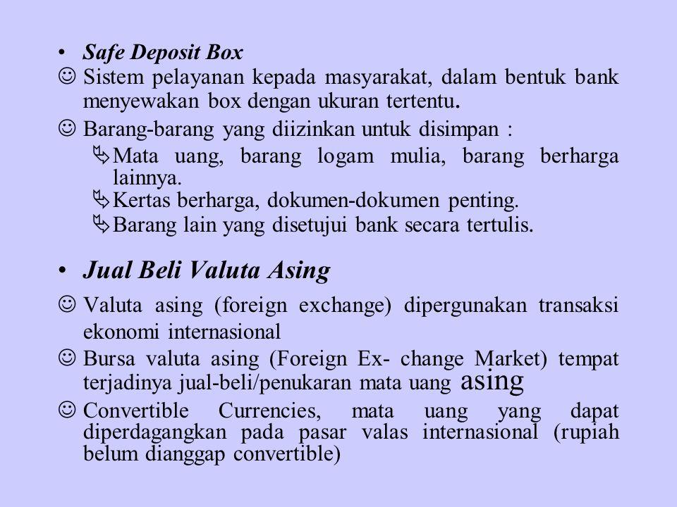 Safe Deposit Box Sistem pelayanan kepada masyarakat, dalam bentuk bank menyewakan box dengan ukuran tertentu. Barang-barang yang diizinkan untuk disim