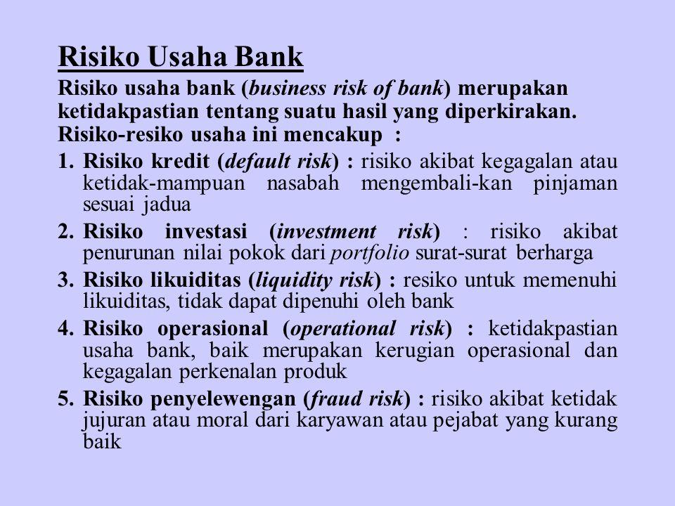 Risiko Usaha Bank Risiko usaha bank (business risk of bank) merupakan ketidakpastian tentang suatu hasil yang diperkirakan. Risiko-resiko usaha ini me