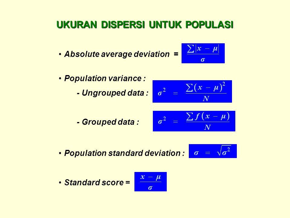 Absolute average deviation = Population standard deviation : Population variance : - Ungrouped data : - Grouped data : Standard score = UKURAN DISPERS