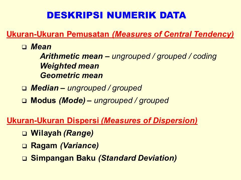ARITHMETIC MEAN Populasi : Sampel : x=nilai suatu elemen N=banyaknya elemen dlm populasi n=banyaknya elemen dlm sampel Sample Arithmetic Mean of Grouped Data : x=midpoint suatu kelas (class mark) f=frekuensi (banyaknya pengamatan) dalam kelas Coding : x 0 =nilai class mark yang berkode 0 (nol) w=lebar interval kelas u=kode untuk setiap kelas