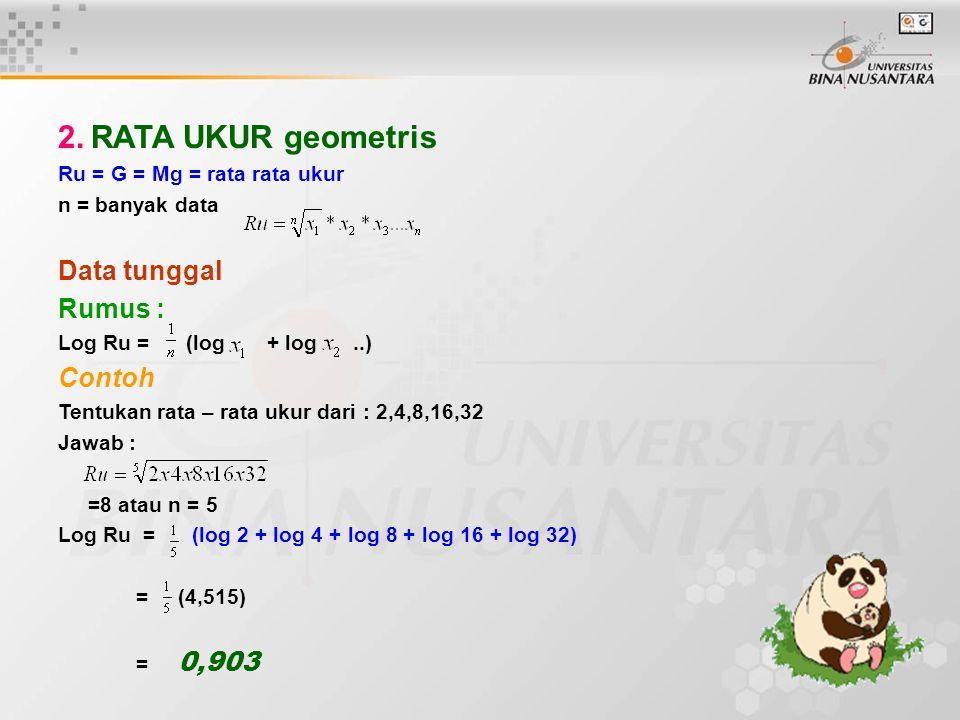 2. RATA UKUR geometris Ru = G = Mg = rata rata ukur n = banyak data Data tunggal Rumus : Log Ru = (log + log..) Contoh Tentukan rata – rata ukur dari
