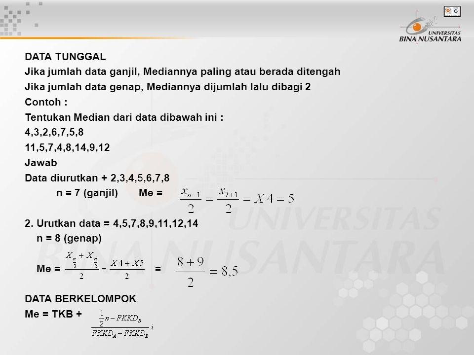 DATA TUNGGAL Jika jumlah data ganjil, Mediannya paling atau berada ditengah Jika jumlah data genap, Mediannya dijumlah lalu dibagi 2 Contoh : Tentukan