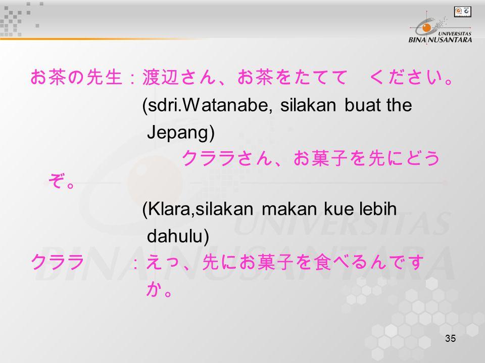 35 お茶の先生:渡辺さん、お茶をたてて ください。 (sdri.Watanabe, silakan buat the Jepang) クララさん、お菓子を先にどう ぞ。 (Klara,silakan makan kue lebih dahulu) クララ:えっ、先にお菓子を食べるんです か。