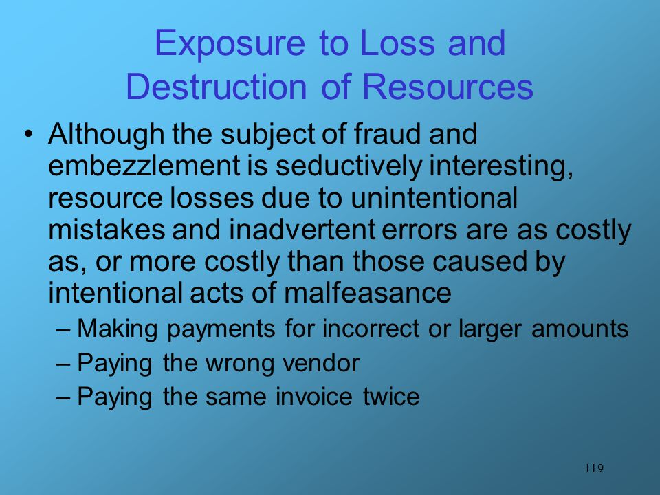 119 Exposure to Loss and Destruction of Resources Although the subject of fraud and embezzlement is seductively interesting, resource losses due to un