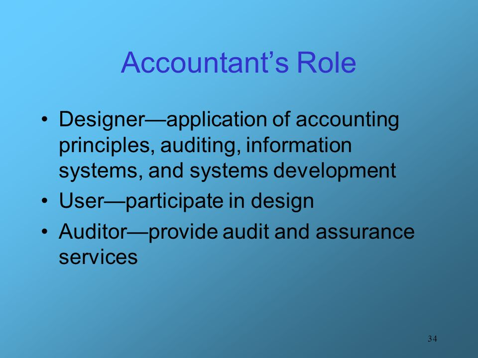 34 Accountant's Role Designer—application of accounting principles, auditing, information systems, and systems development User—participate in design