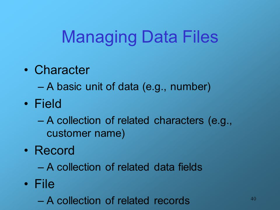 40 Managing Data Files Character –A basic unit of data (e.g., number) Field –A collection of related characters (e.g., customer name) Record –A collec