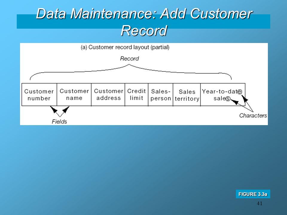 41 Data Maintenance: Add Customer Record FIGURE 3.3a