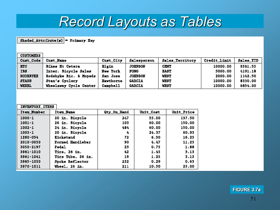 51 Record Layouts as Tables FIGURE 3.7a