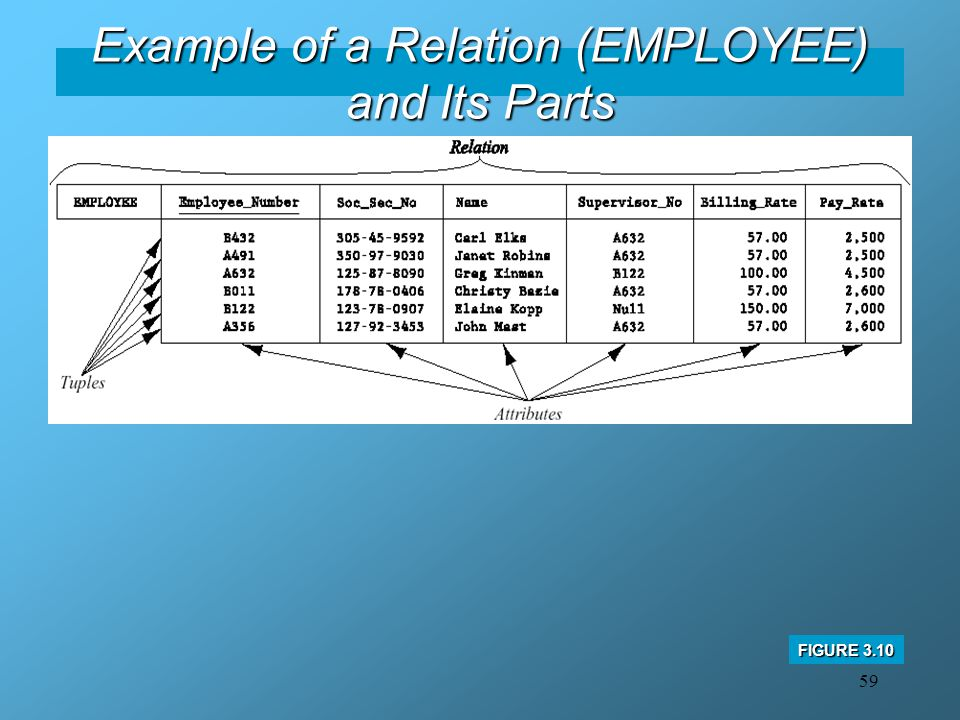 59 Example of a Relation (EMPLOYEE) and Its Parts FIGURE 3.10